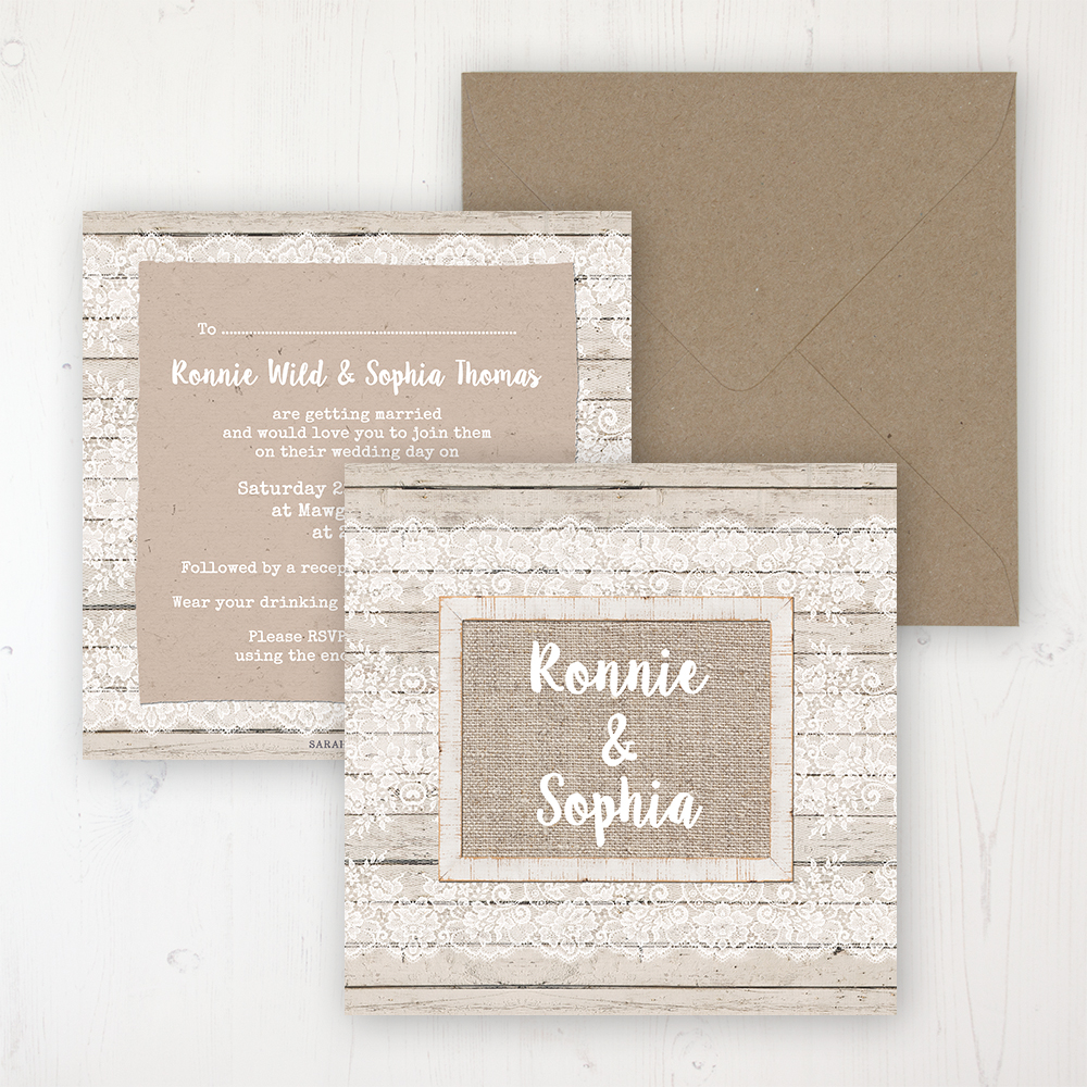 Natural Elegance Wedding Invitation - Flat Personalised Front & Back with Rustic Envelope