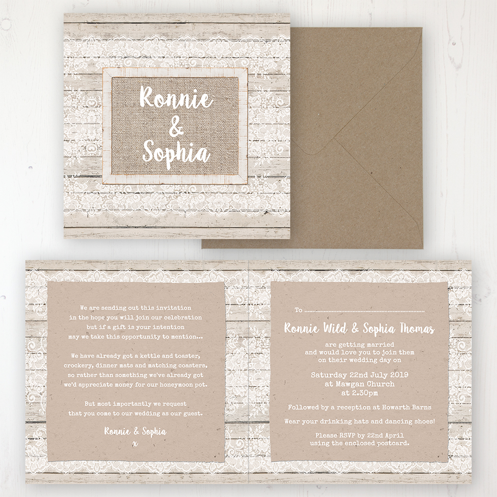 Natural Elegance Wedding Invitation - Folded Personalised Front & Back with Rustic Envelope