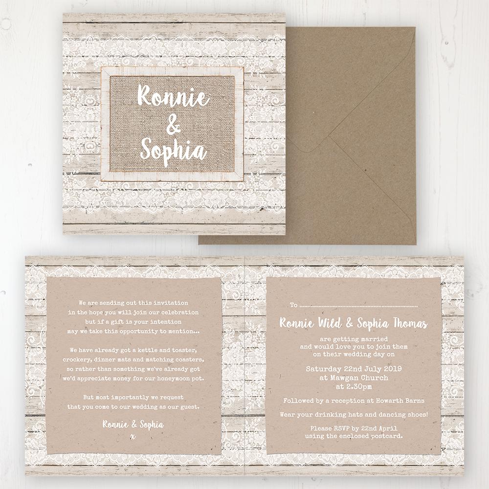 Natural Elegance Wedding Invitation - Folded Personalised Front & Back with Rustic Envelope