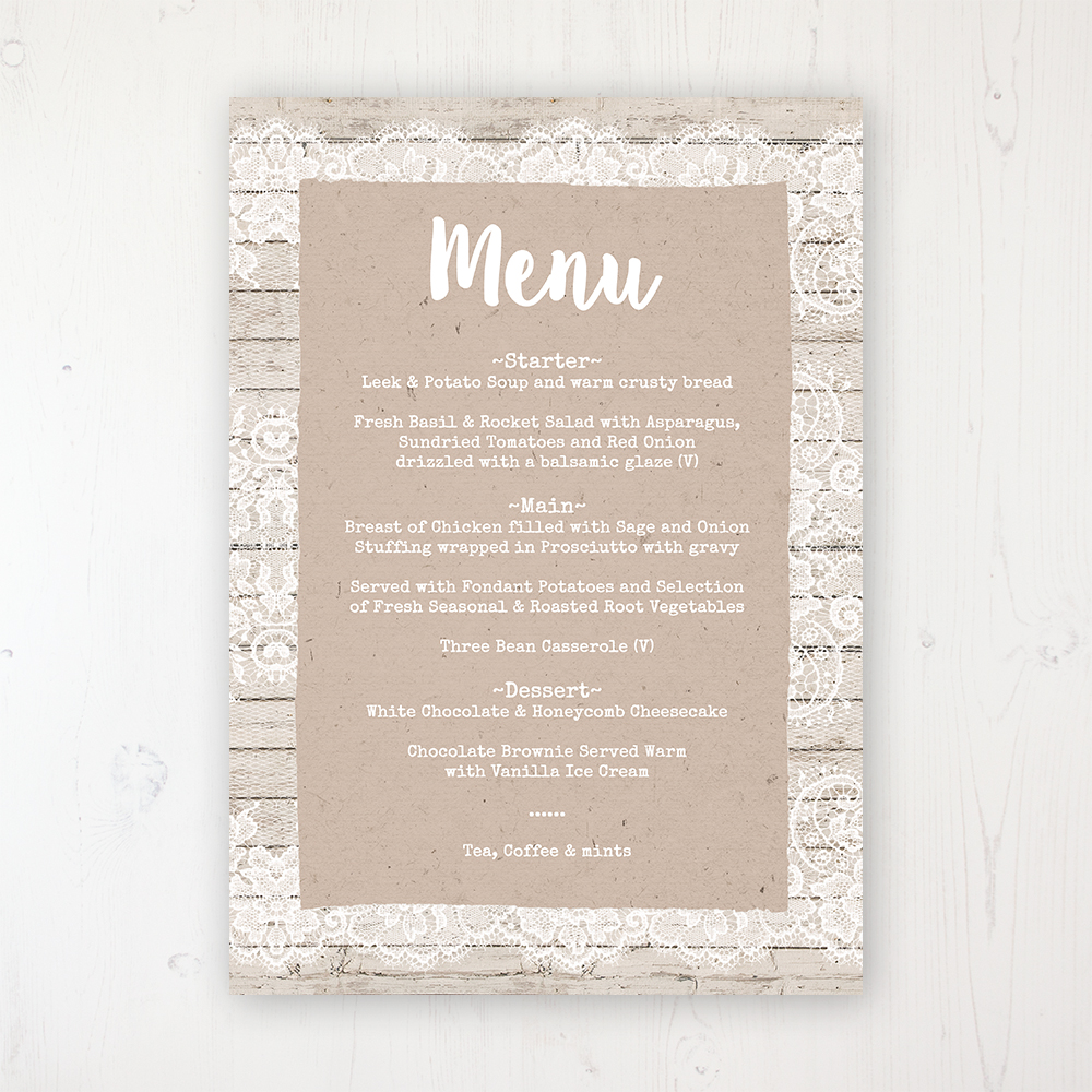 Natural Elegance Wedding Menu Card Personalised to display on tables