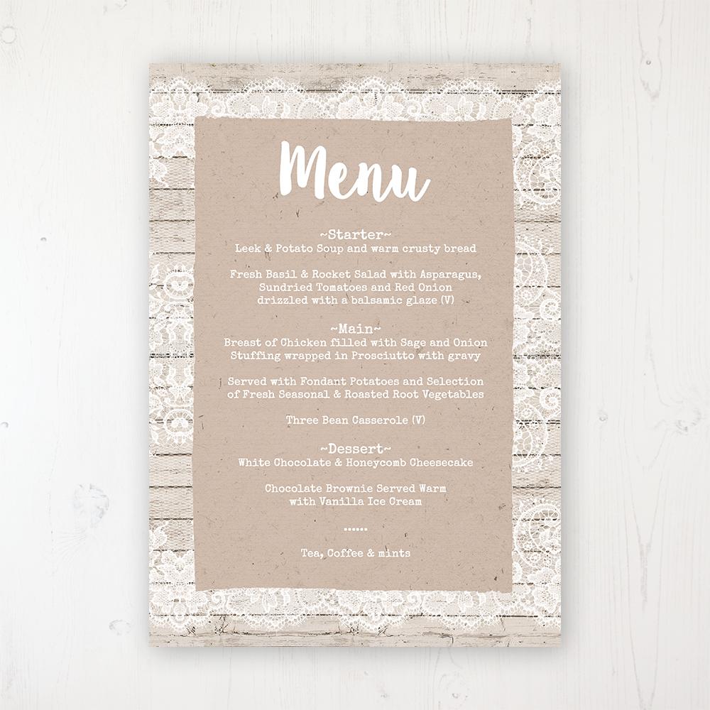 Natural Elegance Wedding Menu Card Personalised To Display On Tables