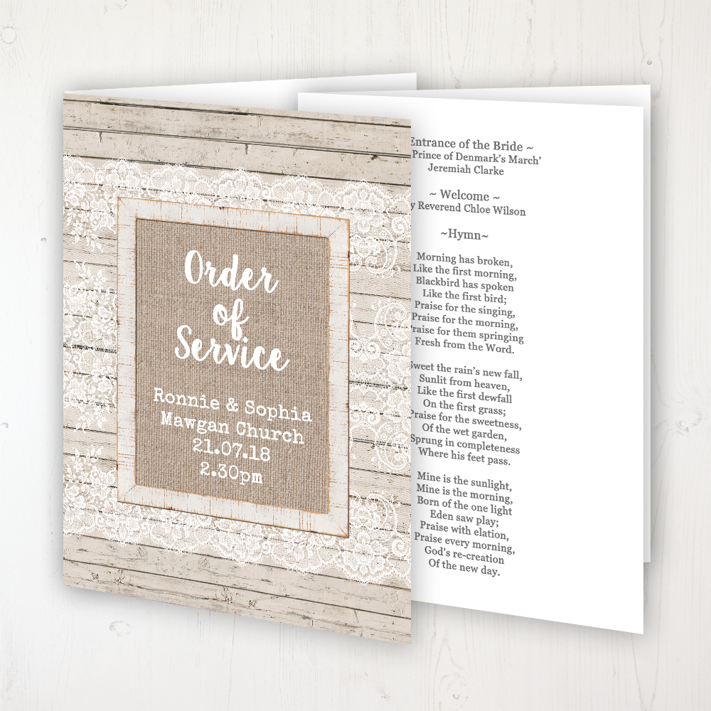 Natural Elegance Wedding Order of Service - Booklet Personalised Front & Inside Pages