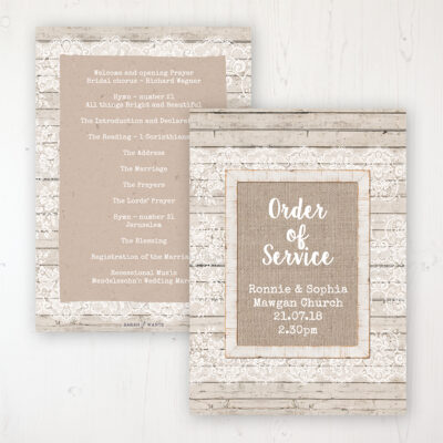 Natural Elegance Wedding Order of Service - Card Personalised front and back