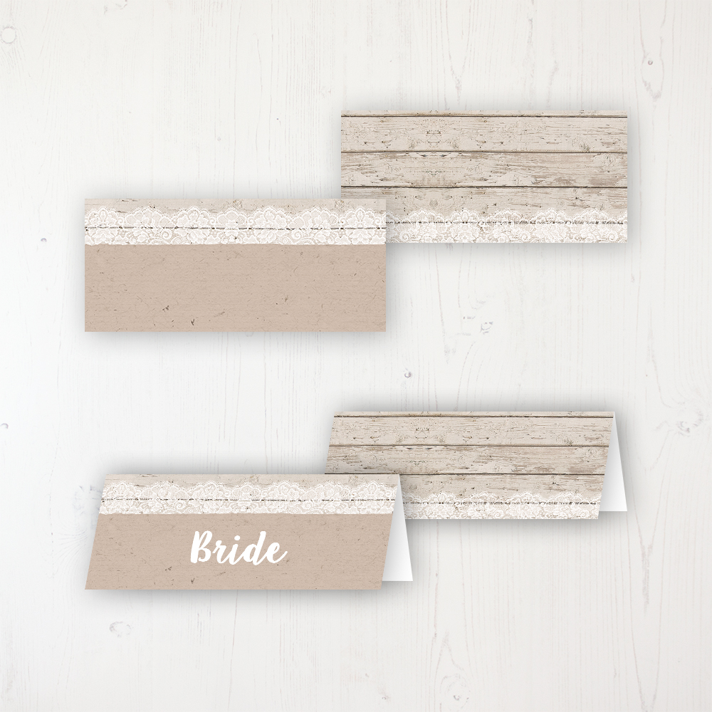 Natural Elegance Wedding Place Name Cards Blank and Personalised with Flat or Folded Option