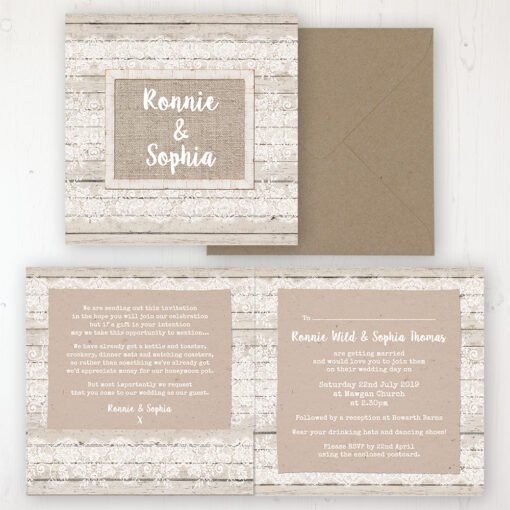 Natural Elegance Wedding Invitation - Folded Personalised Front & Back with Pocket in inside cover. Includes Rustic Envelope