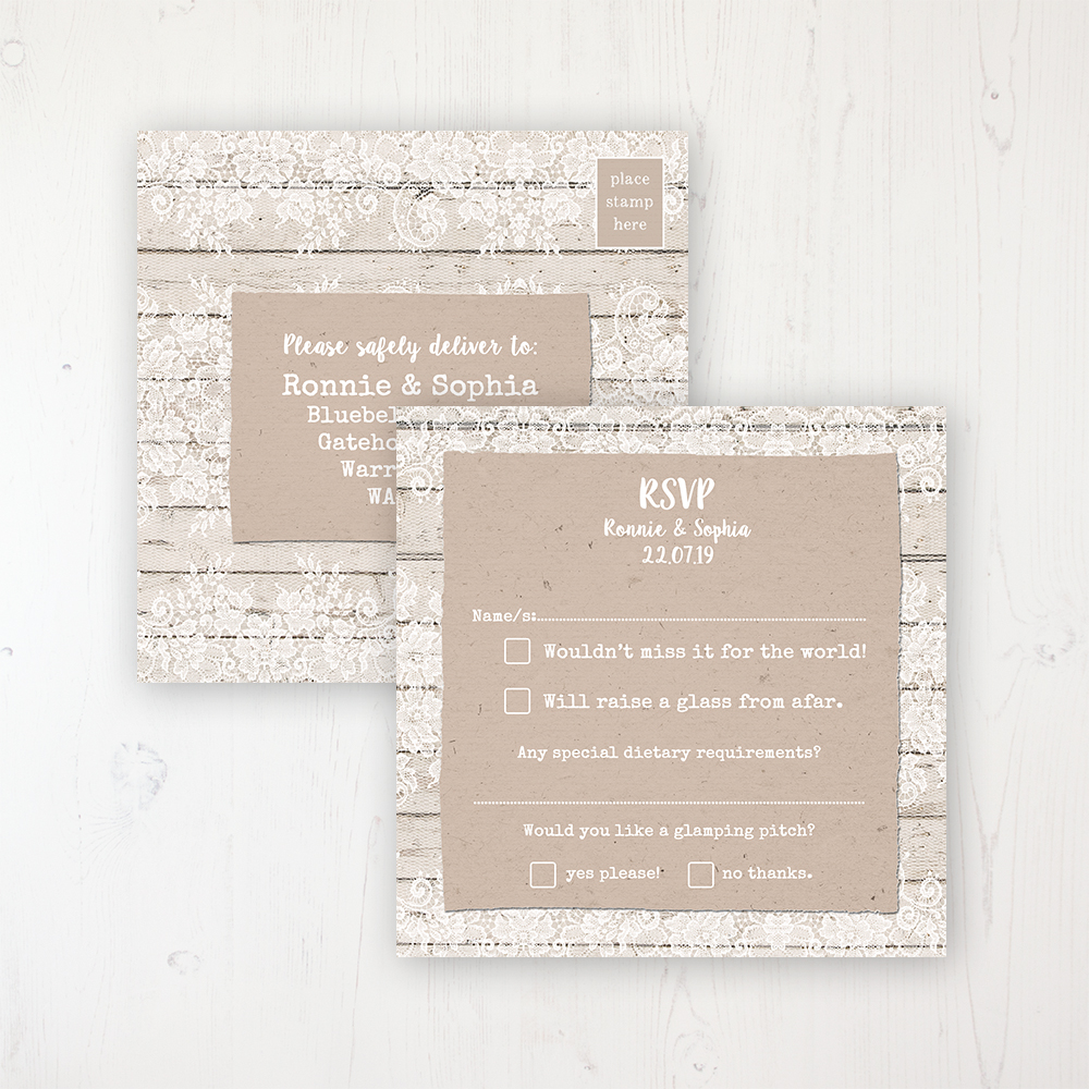 Natural Elegance Wedding RSVP Postcard Personalised Front & Back