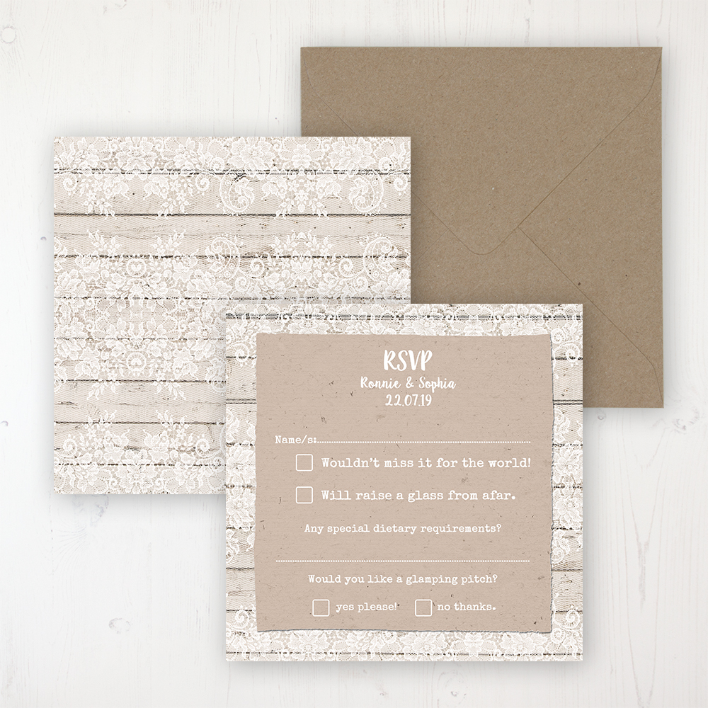 Natural Elegance Wedding RSVP Personalised Front & Back with Rustic Envelope