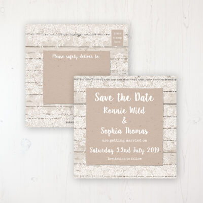 Natural Elegance Wedding Save the Date Postcard Personalised Front & Back
