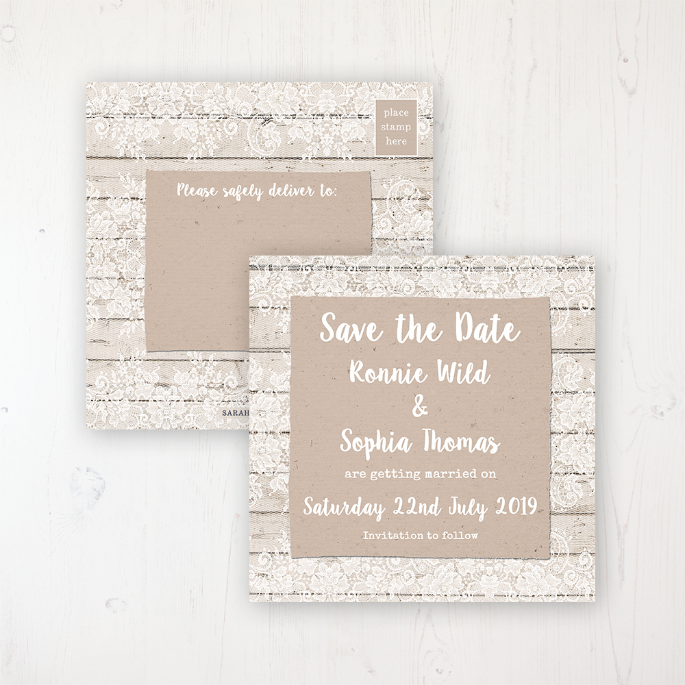 Natural Elegance Wedding Save the Date Postcard Personalised Front & Back