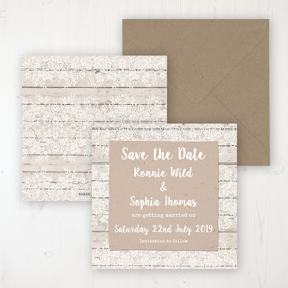 Natural Elegance Wedding Save the Date Personalised Front & Back with Rustic Envelope