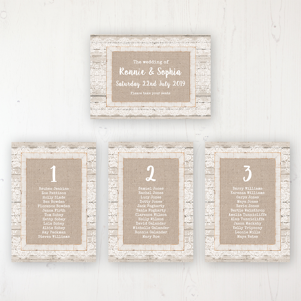 Natural Elegance Wedding Table Plan Cards Personalised with Table Names and Guest Names