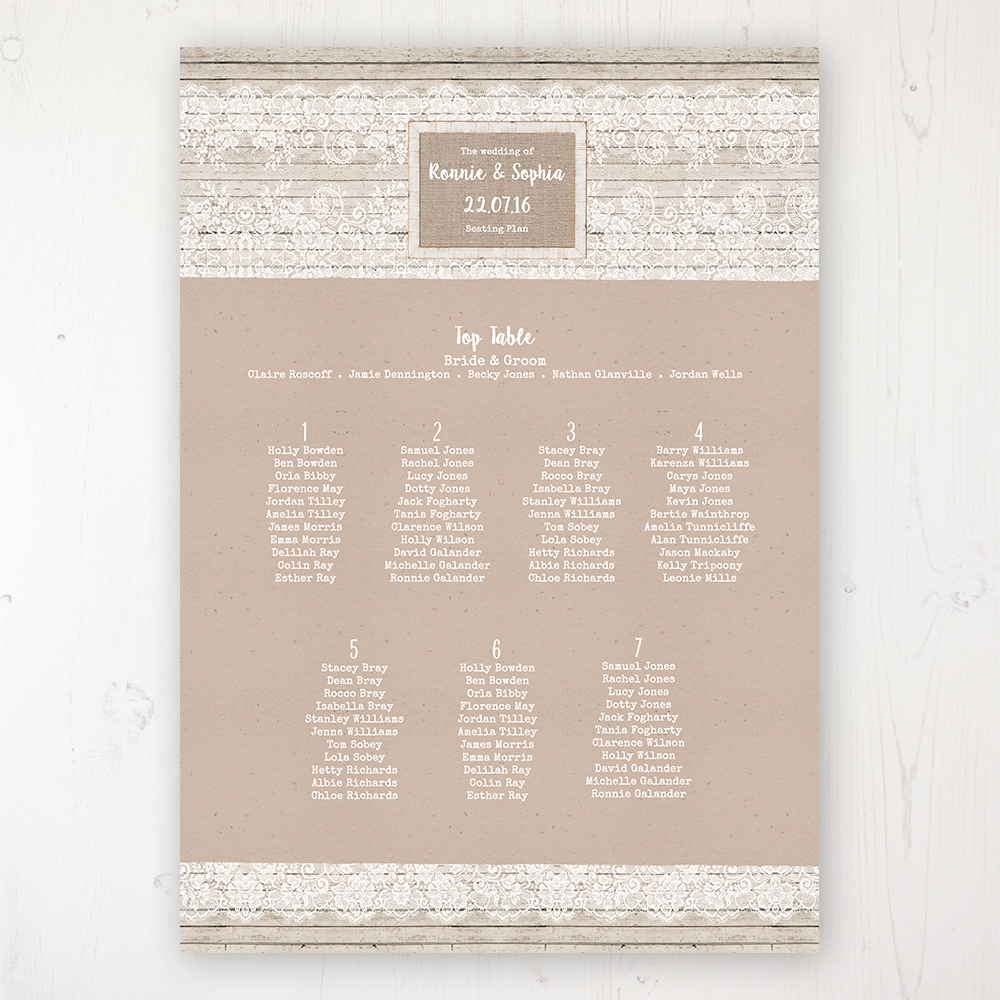 Natural Elegance Wedding Table Plan Poster Personalised with Table and Guest Names