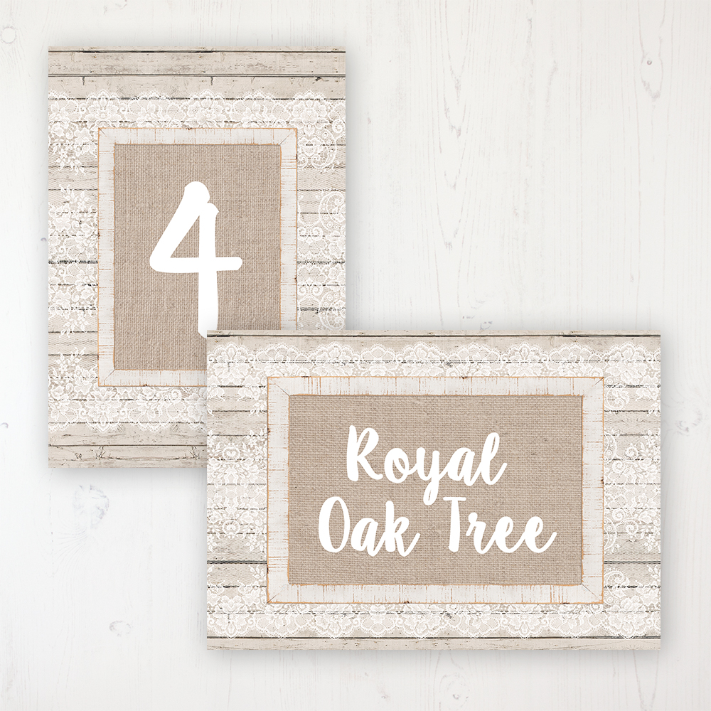 Natural Elegance Wedding Table Name & Number Personalised Table Name Card and Number Card
