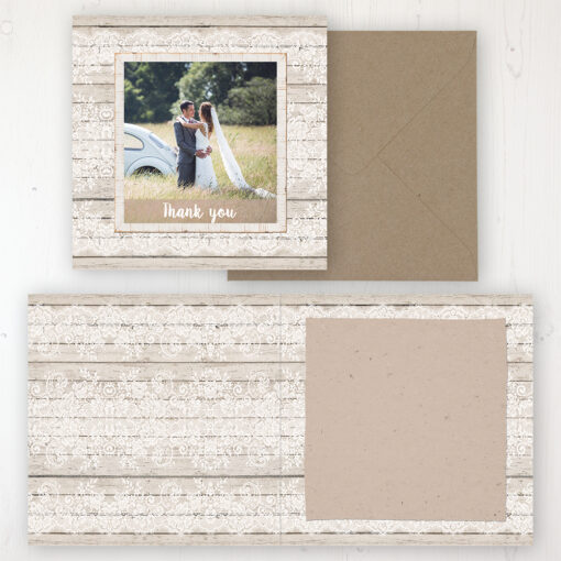 Natural Elegance Wedding Thank You Card - Folded Personalised with a Message & Photo