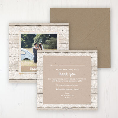 Natural Elegance Wedding Thank You Card - Flat Personalised with a Message & Photo