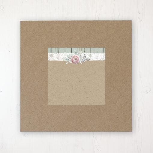 Ophelia Sage Wedding Envelope Label on Rustic Brown Envelope