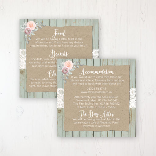 Ophelia Sage Wedding Info Insert Card Personalised Front & Back