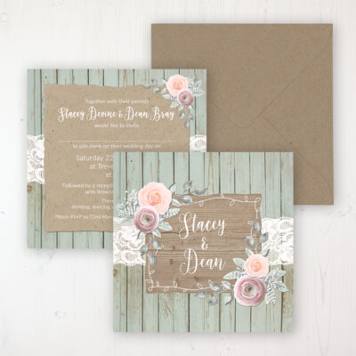 Ophelia Sage Wedding Invitation - Flat Personalised Front & Back with Rustic Envelope