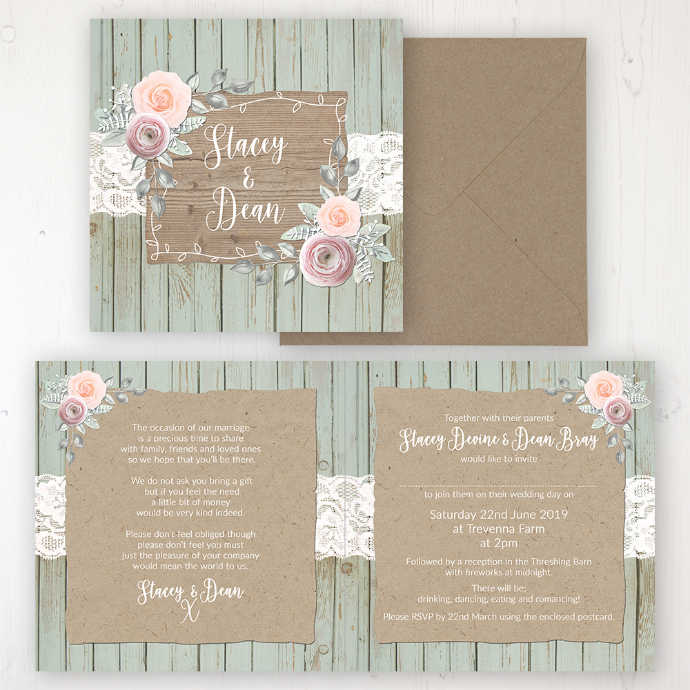 Ophelia Sage Wedding Invitation - Folded Personalised Front & Back with Rustic Envelope