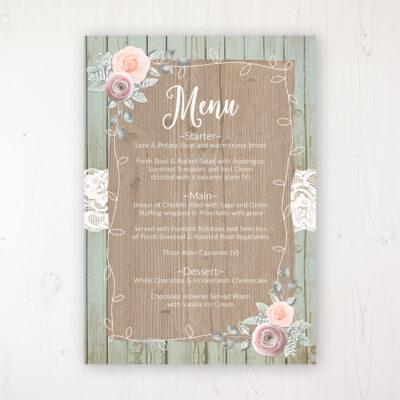 Ophelia Sage Wedding Menu Card Personalised to display on tables