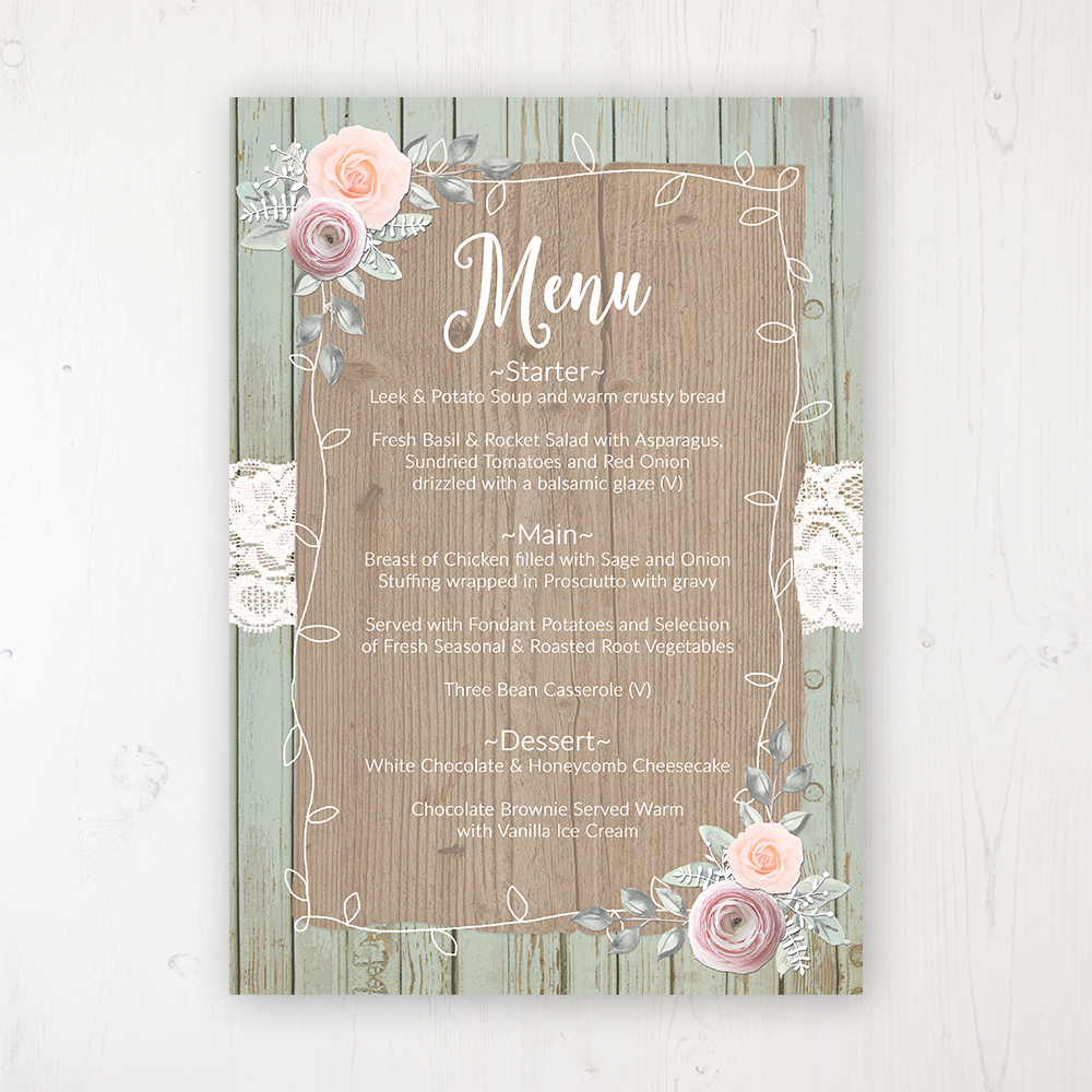 Ophelia Sage Wedding Menu Card Personalised to display on tables