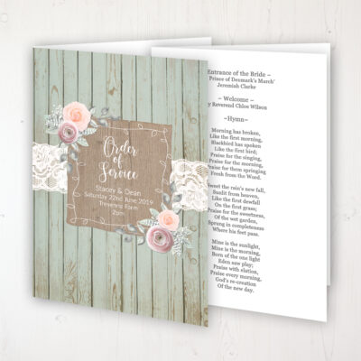 Ophelia Sage Wedding Order of Service - Booklet Personalised Front & Inside Pages