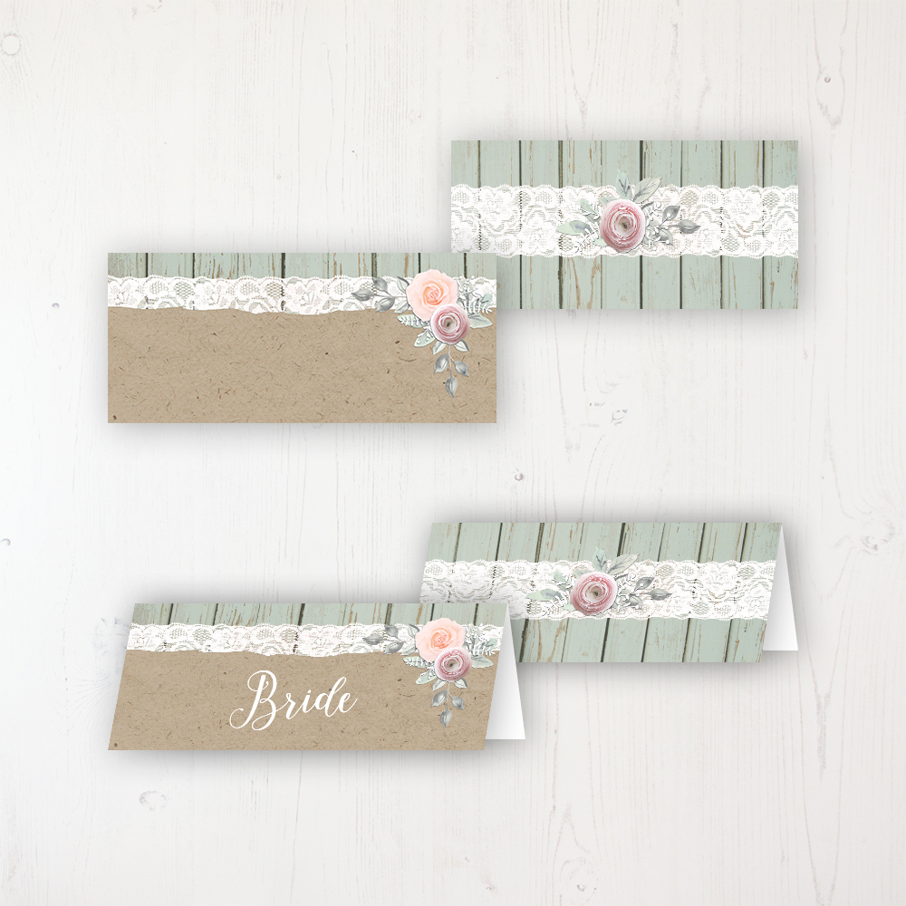 Ophelia Sage Wedding Place Name Cards Blank and Personalised with Flat or Folded Option
