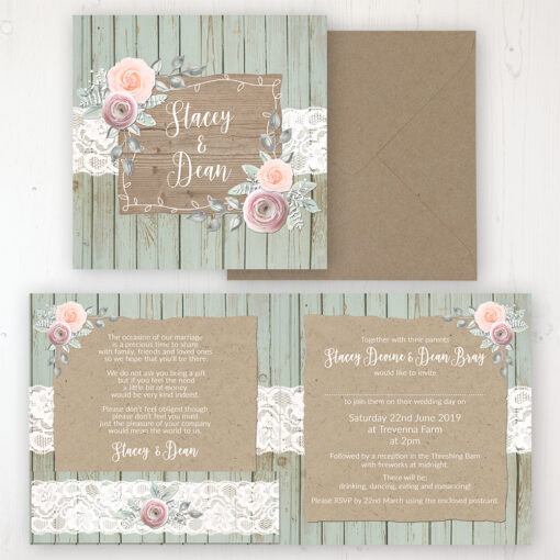Ophelia Sage Wedding Invitation - Folded Personalised Front & Back with Pocket in inside cover. Includes Rustic Envelope