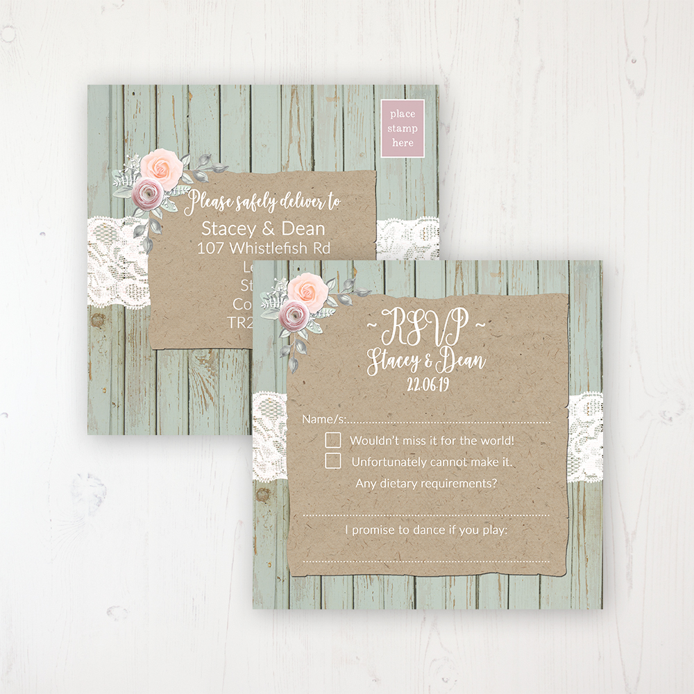 Ophelia Sage Wedding RSVP Postcard Personalised Front & Back