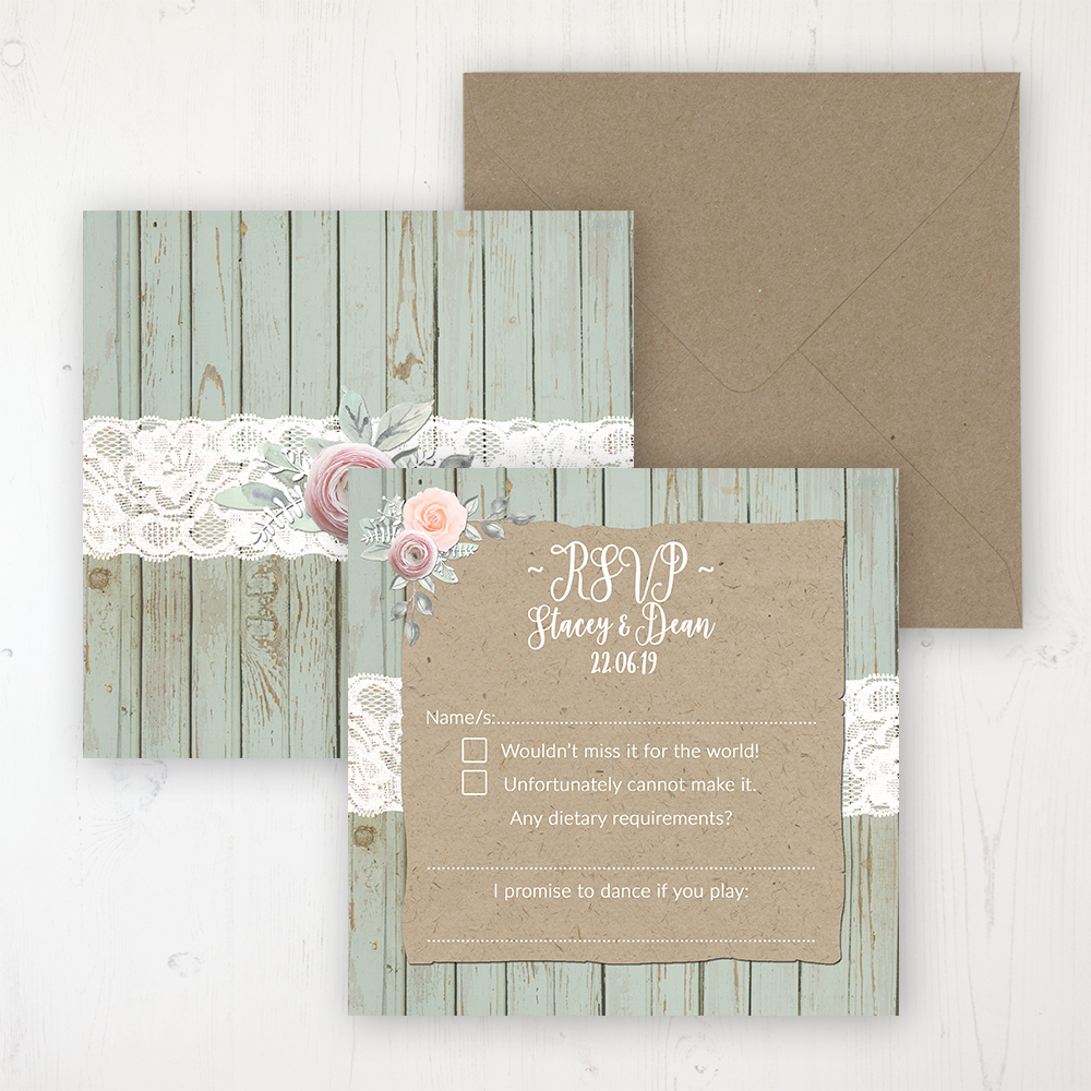Ophelia Sage Wedding RSVP Personalised Front & Back with Rustic Envelope