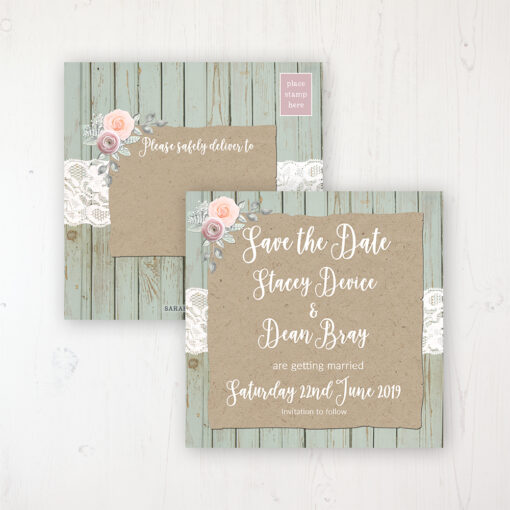 Ophelia Sage Wedding Save the Date Postcard Personalised Front & Back