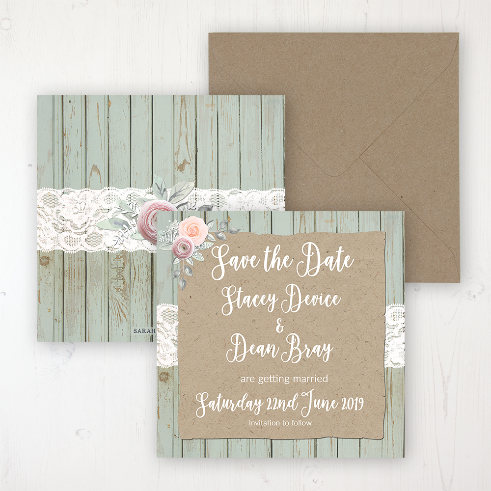 Ophelia Sage Wedding Save the Date Personalised Front & Back with Rustic Envelope