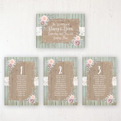 Ophelia Sage Wedding Table Plan Cards Personalised with Table Names and Guest Names
