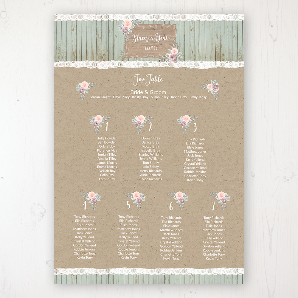 Ophelia Sage Wedding Table Plan Poster Personalised with Table and Guest Names