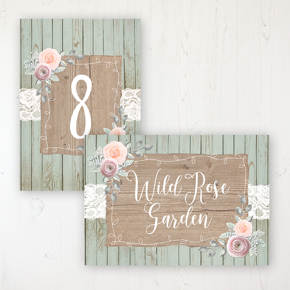 Ophelia Sage Wedding Table Name & Number Personalised Table Name Card and Number Card