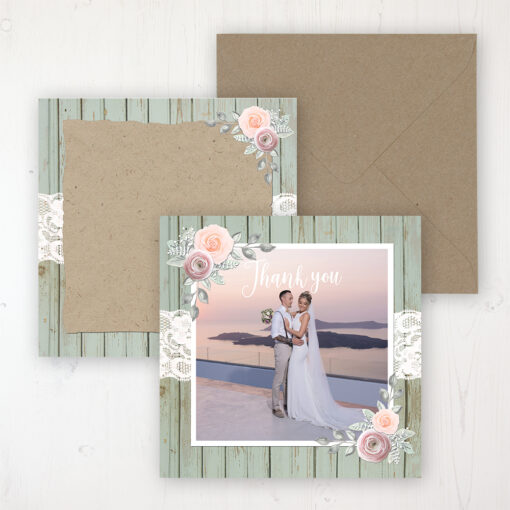 Ophelia Sage Wedding with a photo and with space to write own message