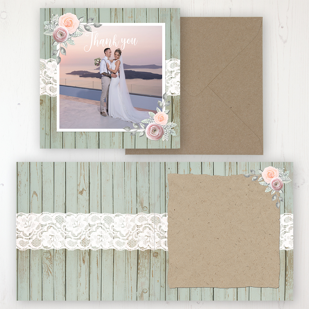 Ophelia Sage Wedding Thank You Card - Folded Personalised with a Message & Photo