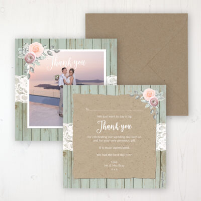 Ophelia Sage Wedding Thank You Card - Flat Personalised with a Message & Photo