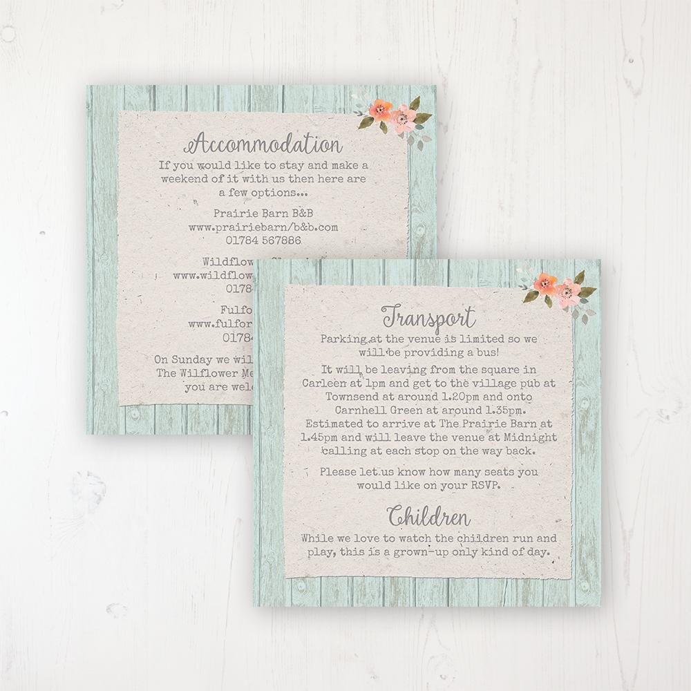 Prairie Peach Wedding Info Insert Card Personalised Front & Back