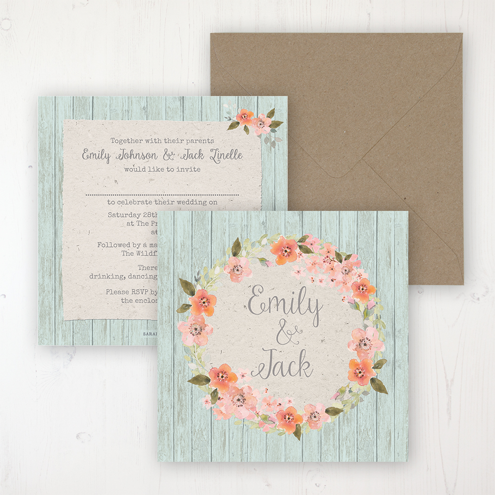 Prairie Peach Wedding Invitation - Flat Personalised Front & Back with Rustic Envelope
