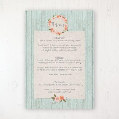 Prairie Peach Wedding Menu Card Personalised to display on tables