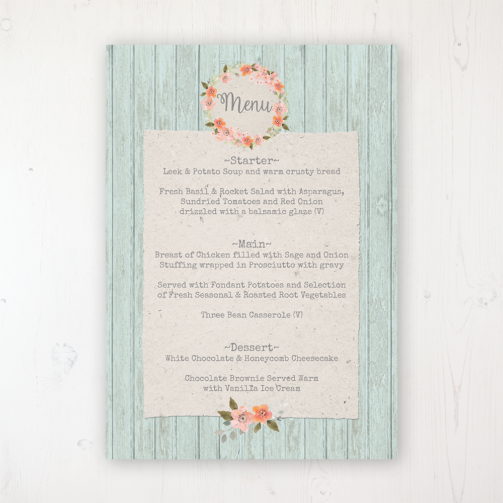 Prairie Peach Wedding Menu Card Personalised to display on tables