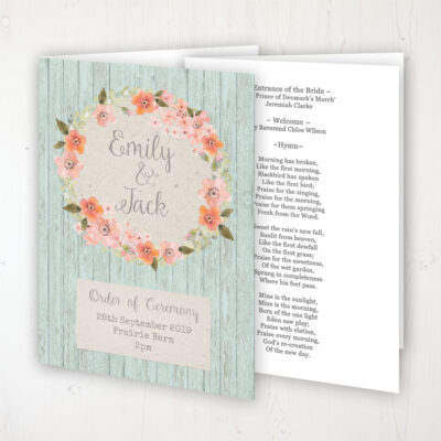 Prairie Peach Wedding Order of Service - Booklet Personalised Front & Inside Pages