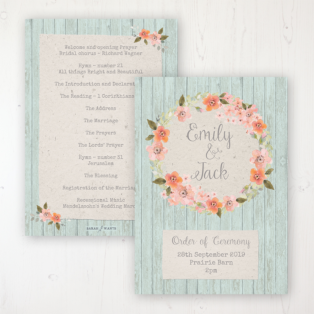 Prairie Peach Wedding Order of Service - Card Personalised front and back