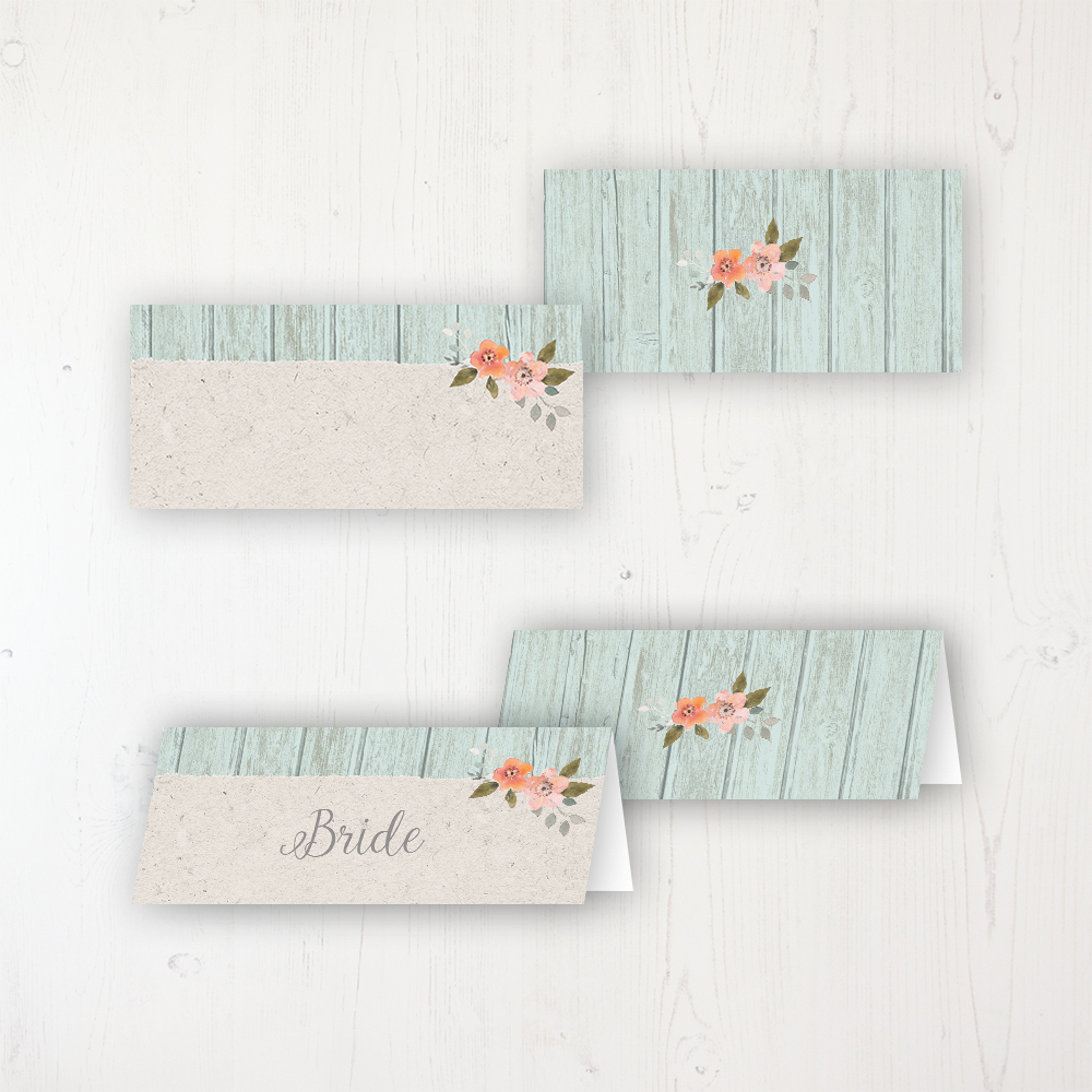 Prairie Peach Wedding Place Name Cards Blank and Personalised with Flat or Folded Option