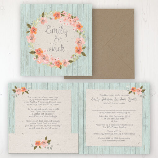 Prairie Peach Wedding Invitation - Folded Personalised Front & Back with Pocket in inside cover. Includes Rustic Envelope