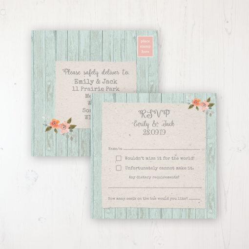 Prairie Peach Wedding RSVP Postcard Personalised Front & Back