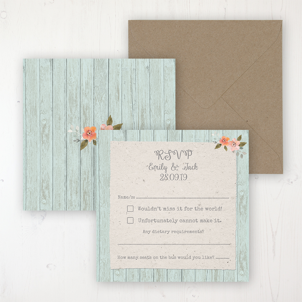 Prairie Peach Wedding RSVP Personalised Front & Back with Rustic Envelope