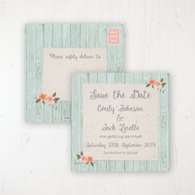Prairie Peach Wedding Save the Date Postcard Personalised Front & Back