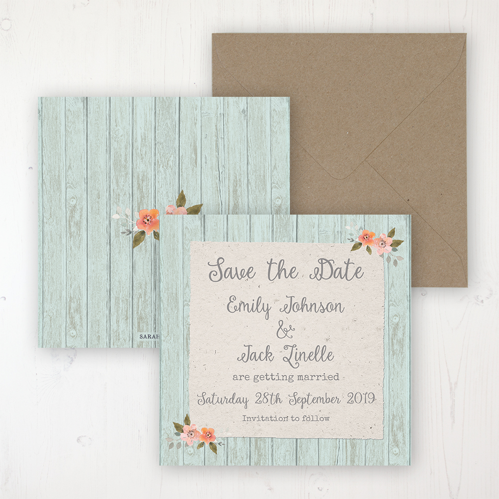 Prairie Peach Wedding Save the Date Personalised Front & Back with Rustic Envelope